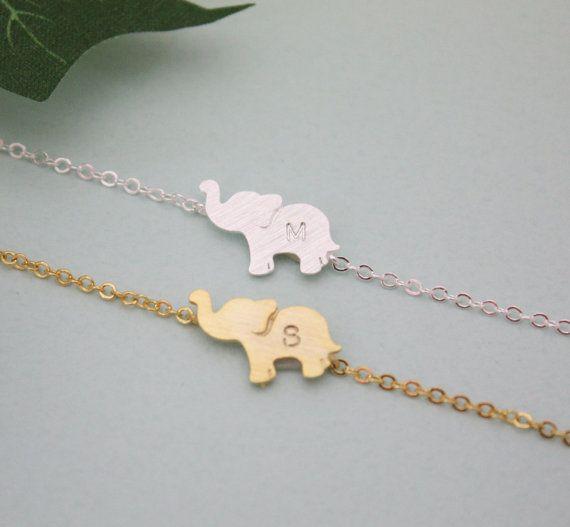 PERSONALIZED ELEPHANT BRACELET initial elephant by LaSenada
