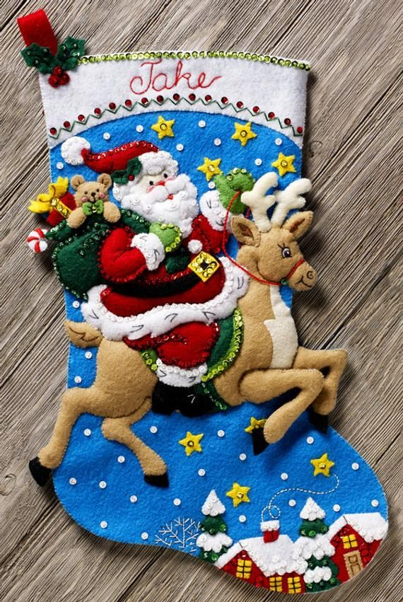 Bucilla Reindeer Santa 18 Felt Christmas Stocking Kit 86816