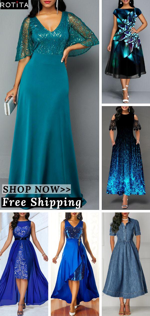 6+ Rotita Fashion Blue Formal Casual Dress Outfits