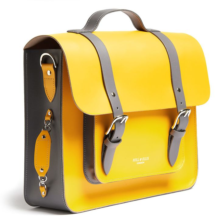 ABOUT BRADLEY  Crafted in the UK in eye-catching Tour de France yellow leather with grey  leather detailing, this bike bag is a must for cyclists that want to be out  in front, leading the pack with style.   This modern, summery bike bag also comes with features designed for the  cyclist - ca