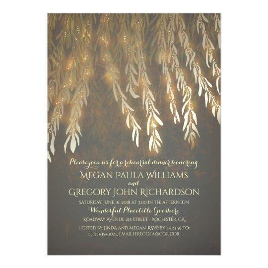 Jantar de ensaio dos ramos de árvore do salgueiro convite 12.7 x 17.78cm