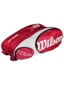 The Wilson Tour 12 Pack Tennis Bag has three racquet compartments that hold up to four racquets each. Two zippered accessory compartments at each end of bag for gear storage, and screen printed Wilson Tour logo on each side of bag.