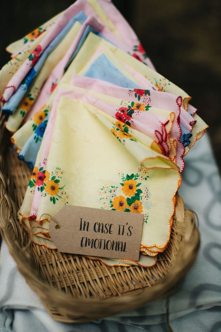 Handkerchiefs for Tears of Joy - Richard Skins Photography | Outdoor Tipi Wedding at Ecclesall Woods in Sheffield | Rustic DIY Decor | Bride in Short Blue By Enzoani 'Danbury' Dress | Badgley Mischka Kiara Shoes | Ted Baker Bridesmaid Dresses