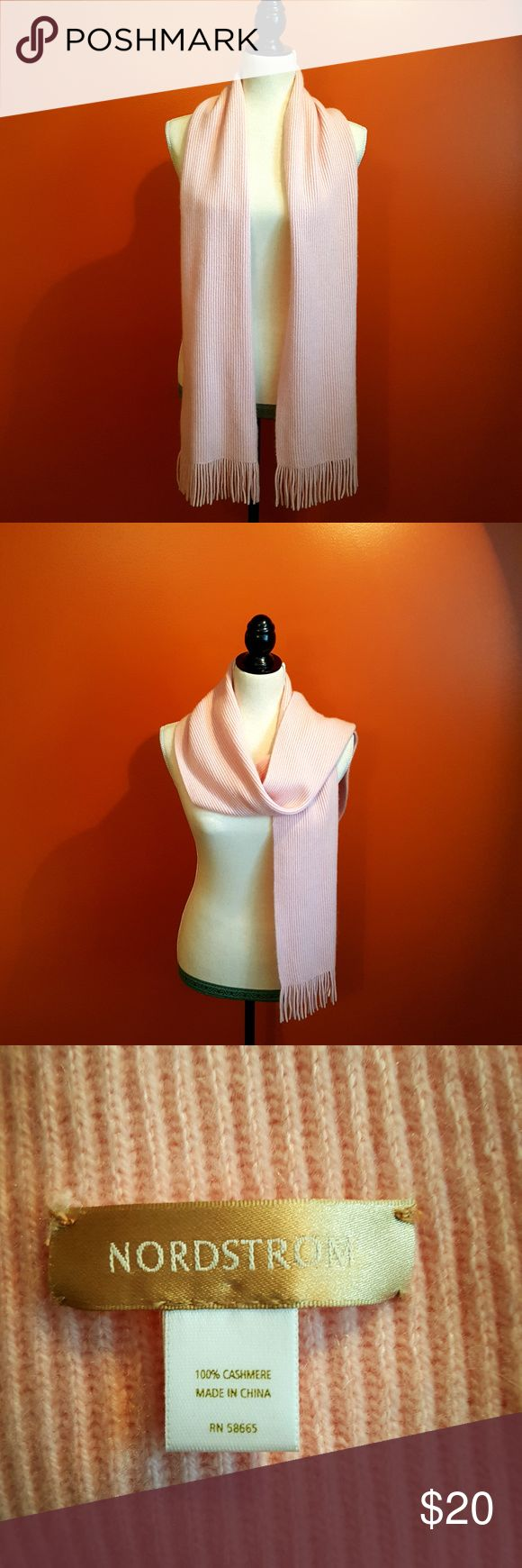 "Cashmere scarf from Nordstrom Dusty pink cashmere scarf is lightly used with no noticeable flaws.  There is a slight stretch in the center and it is 73"" long, 10"" wide Nordstom Accessories Scarves & Wraps"