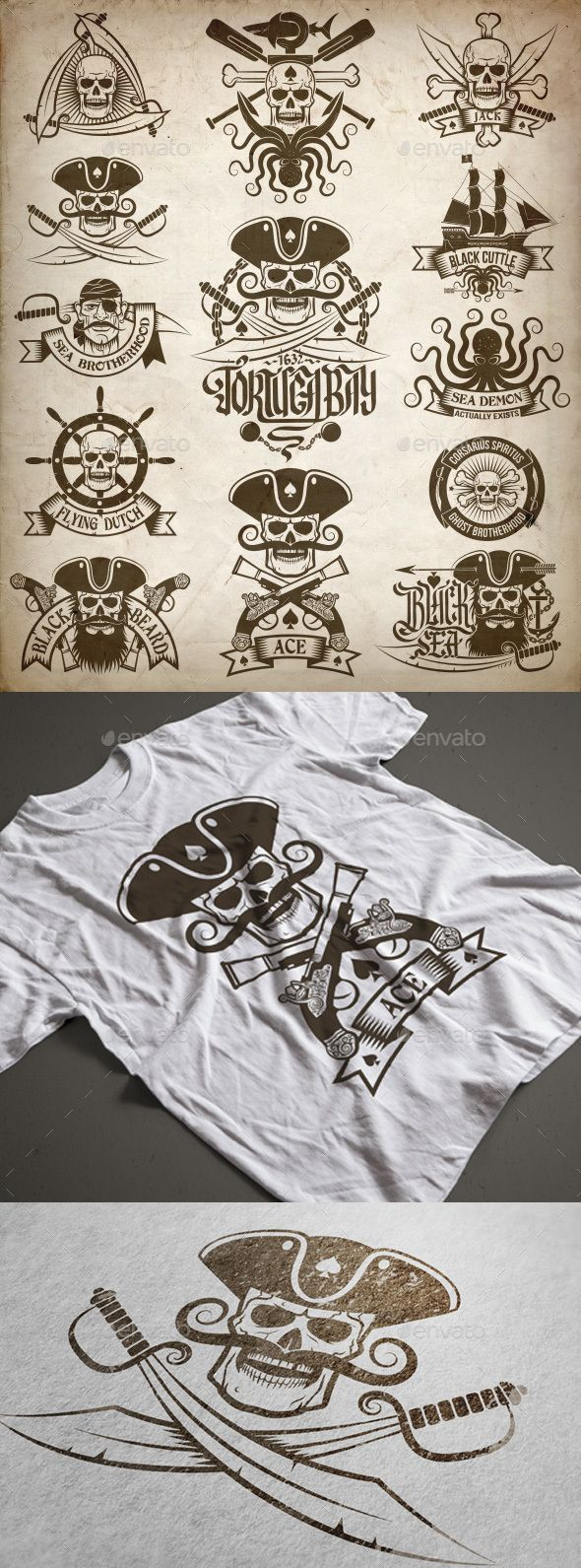 Pirate Skull Tattoos Set — Photoshop PSD #retro #Pirate tattoo • Available here → https://graphicriver.net/item/pirate-skull-tattoos-set/16183149?ref=pxcr