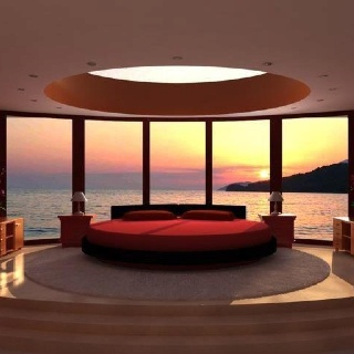 outstanding bedroom luxurious bedroom design with panoramic sea view and round red bed and round skylight beautiful bedroom design ideas for your - Cool Bedroom Design Ideas