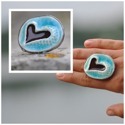 Ceramic ring big ring art  jewelry  adjustable ring by zolanna