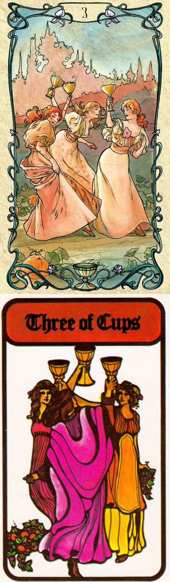 Three of Cups: community and lack of independence (reverse). Mucha Tarot deck and Hoi Poloi Tarot deck: 6 card free tarot, free tarot predictions vs free psychic tarot card reading online. The best paganism men and oracles cards. #halloween2017 #death #thesun #spells #halloweenmakeup