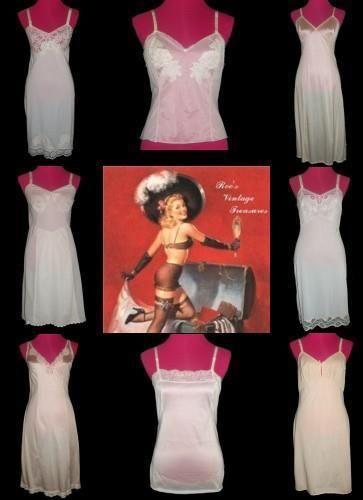 LINGERIE LOT 8 Vintage Nylon Lace Full Slip Camisole M 36 Vanity Fair Olga More #Slip