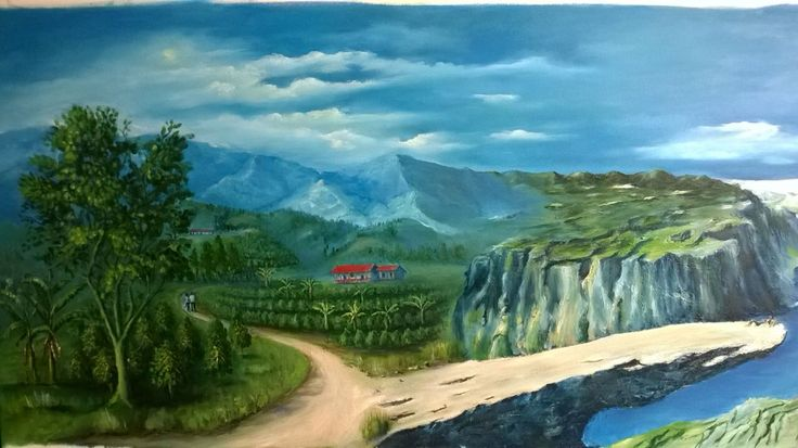 """""""Encuentro de Dos Mundos"""" (Encounter Between Two Worlds). 2016. 140x60 cm. Oil on Canvas by David Florez C. - Private Collection. Colombian landscapes in Riosucio (Caldas) and The Troll's Tongue (Fjord Norway)."""