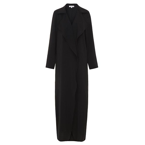 black waterfall coat 51.90 ($72) via Polyvore featuring outerwear, coats and waterfall coats
