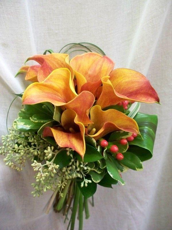Bouquet de mariage, fleurs naturelles, mini callas orangés, calla, Le jardin d'Andrée-Anne, www.lejardin.ca