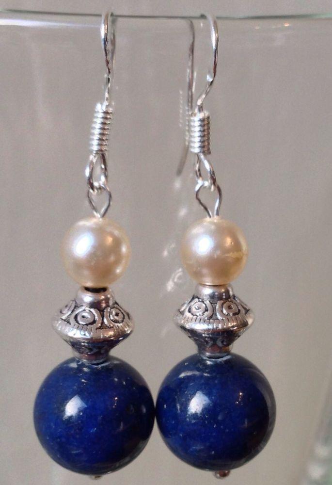 Lapis Lazuli Gemstones & Antique Cultured Pearls& Sterling Silver Earrings