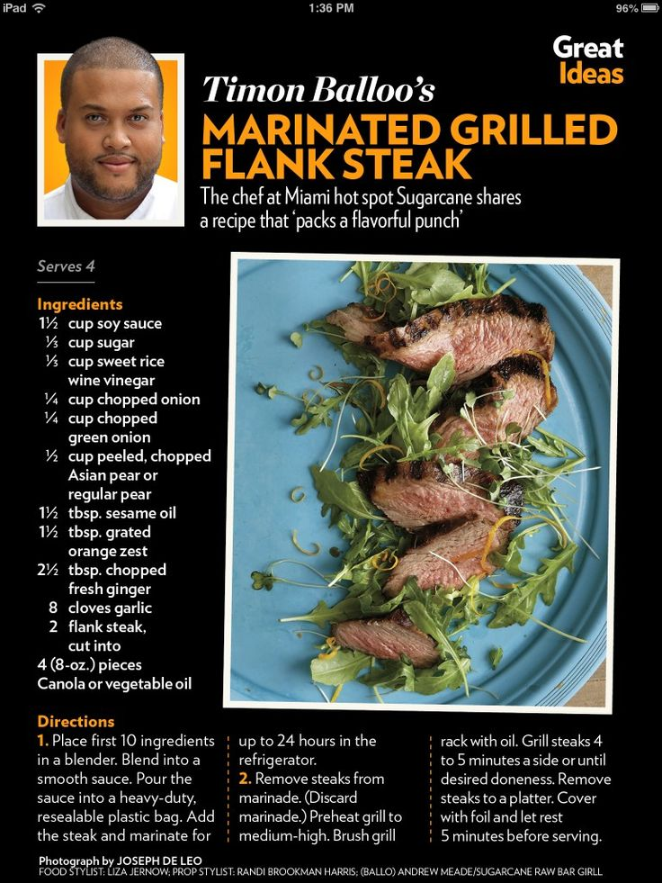 Marinated grilled flank steak | Recipes - Poultry & Steak | Pinterest