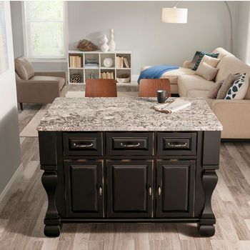 Jeffrey Alexander Tuscan Kitchen Island with Hard Maple Butcher Block Top, Distressed Black just bought it