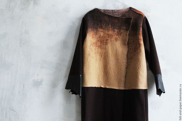 Купить Длинное пальто из валяного войлока, сукна и кожи - коричневый, абстрактный, пальто, пальто женское