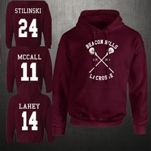 Mode Balise Collines Lacrosse Hoodies Adolescent À manches Longues Loup McCall Stilinski Lahey Unisexe Sweat Tops(China (Mainland))