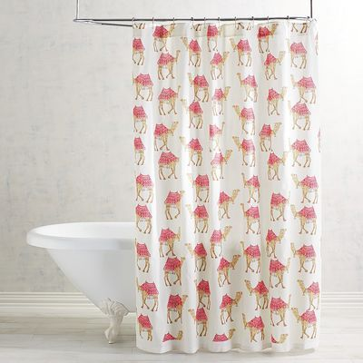 The camel is the state animal of Rajasthan, representing an important part of the desert state's cultural identity. Customize your bathroom decor with our unique cotton shower curtain designed by Indian artists in pleasing shades of pink, teal and coral.