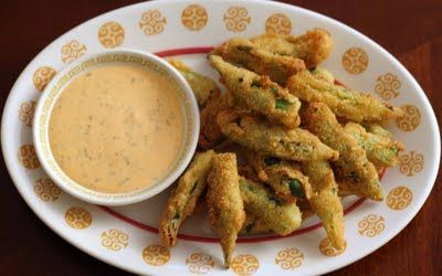 Fried Okra with Sriracha Ranch Dipping SauceFries Okra, Southern Lunches, Sriracha Ranch, Dips Sauces, Vegetarian Recipe, Bo Bowls, Dipping Sauces, Ranch Dips, Amazing Southern