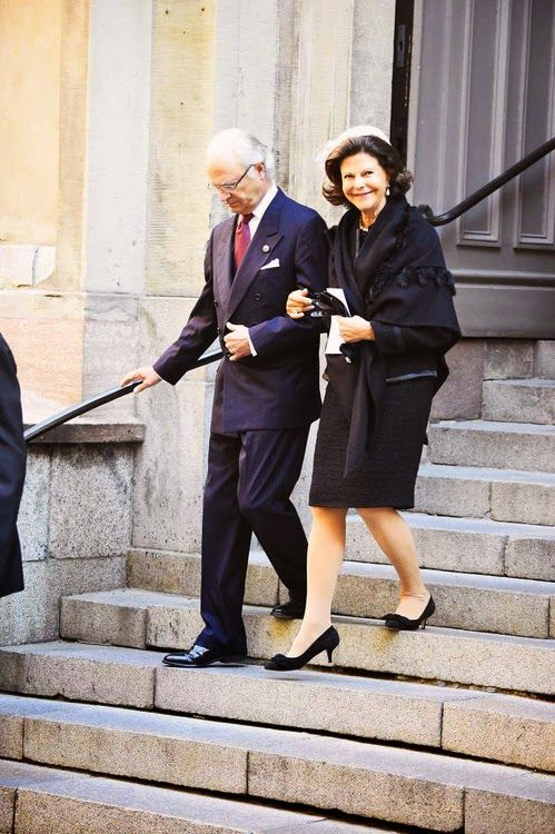 King Carl XVI Gustaf and Queen Silvia of Sweden leaving the Cathedral of Stockholm after opening ceremony for the opening of the Swedish Parliament