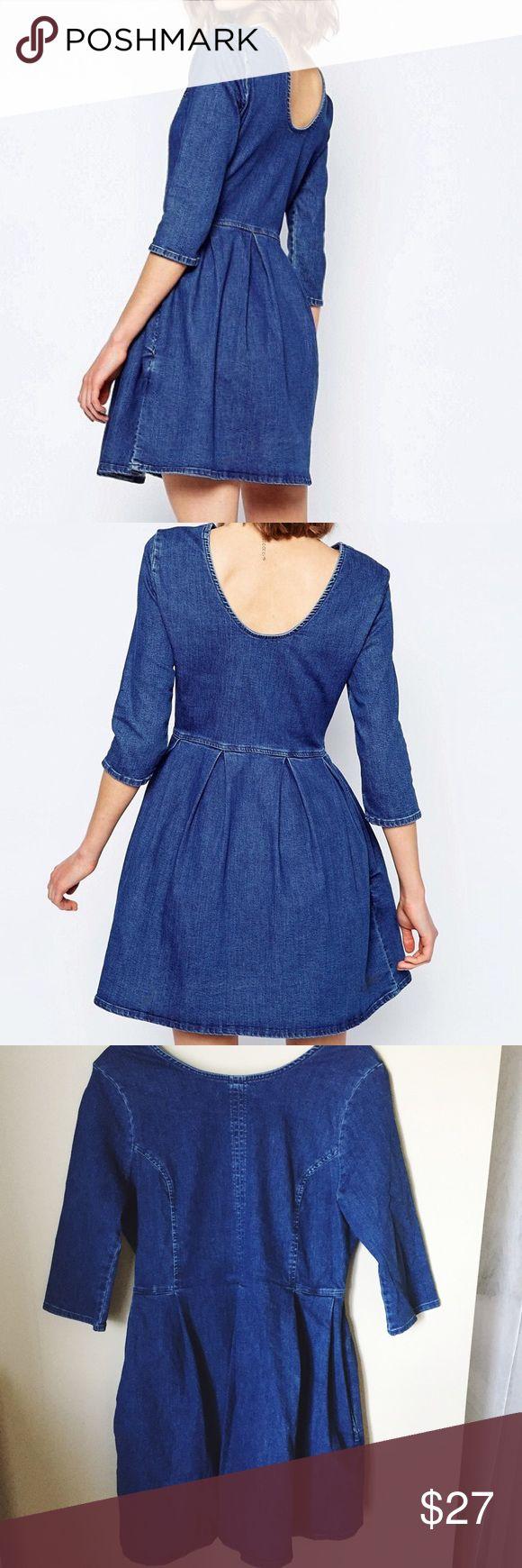 ASOS denim skater dress for petite Soooooooo cute! Just a little big on me now. The pockets kill me. Great for the petite gals ❤️ ASOS Dresses
