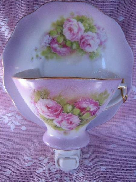 Victorian Teacup & Saucer Rose Garden Lilac Night Light