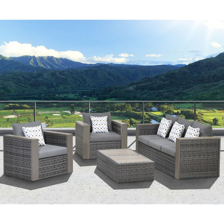 'Freeport' 5-piece Patio Conversation Furniture Set - Overstock™ Shopping - Big Discounts on Atlantic Sofas, Chairs & Sectionals