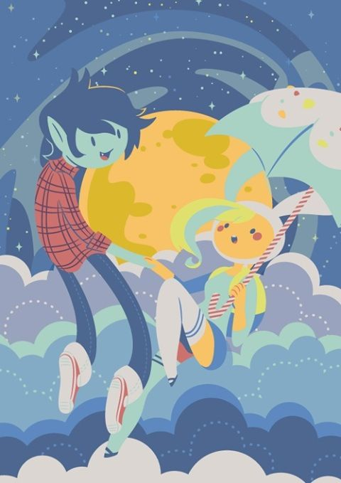 Marshall Lee and Fionna. Adventure Time.