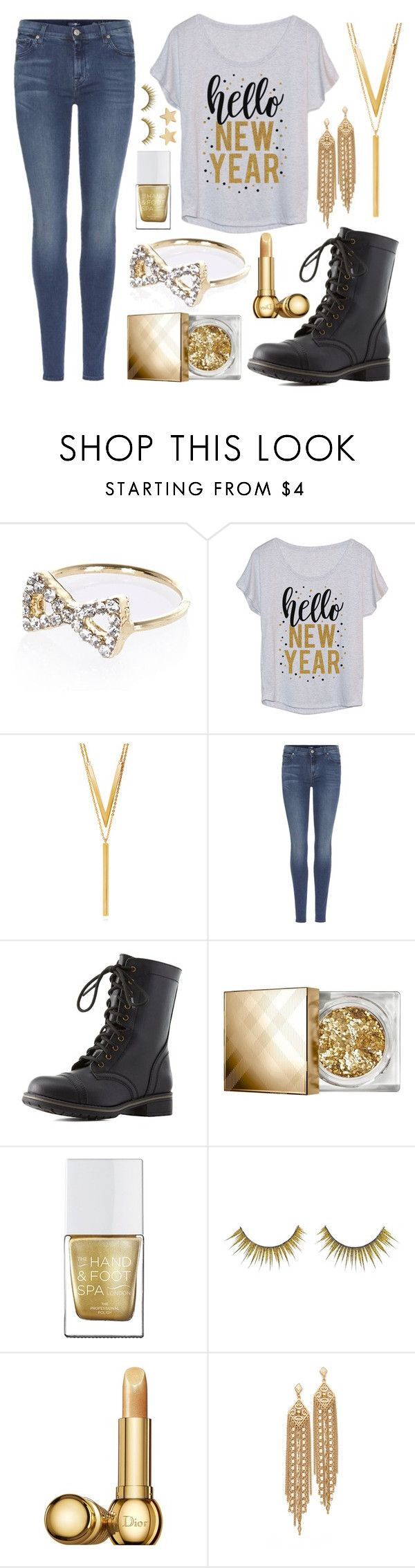 """""""Casual New Year's Eve outfit #2v"""" by potato-cloud on Polyvore featuring River Island, LC Trendz, BERRICLE, 7 For All Mankind, Charlotte Russe, Burberry, Forever 21, Christian Dior, Capwell + Co and Jennifer Meyer Jewelry"""