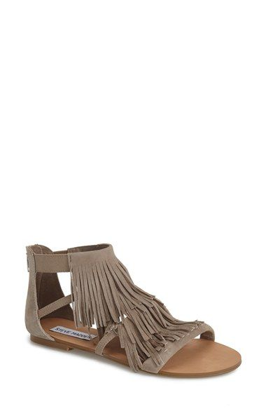 Steve Madden 'Favorit' Fringe Sandal (Women) available at #Nordstrom - size 9 black or tan