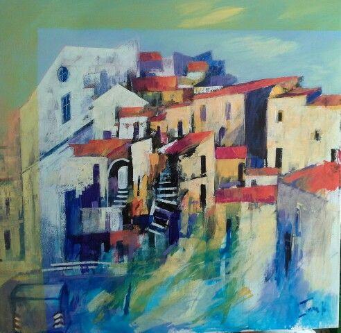 Paesaggio astratto 80x80 cm Luigi Torre painter 2016