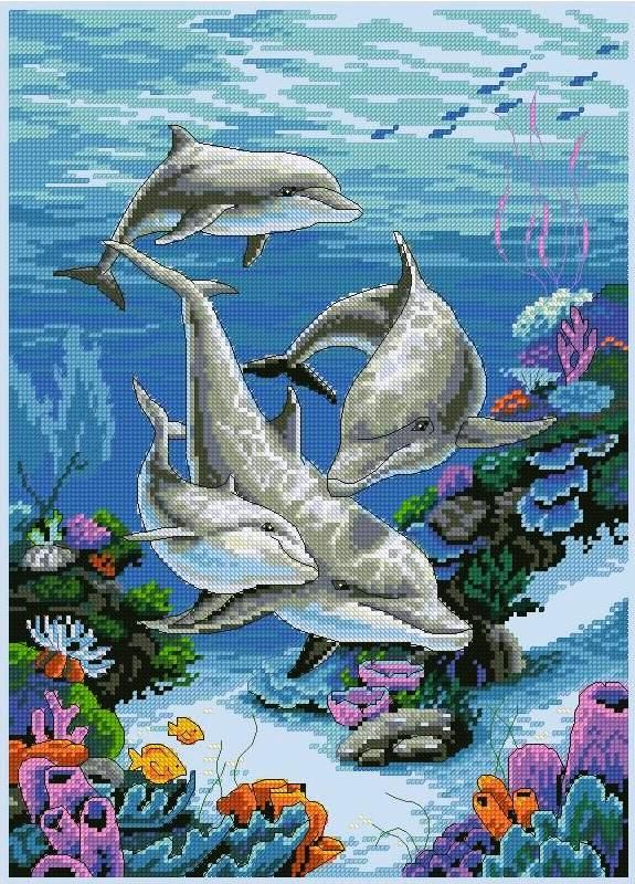 Картина «Дельфины» / Вышивка крестом / В рукоделии
