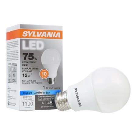 Sylvania LED Light Bulb, 75W Equivalent, A19, Daylight 5000K, Multicolor