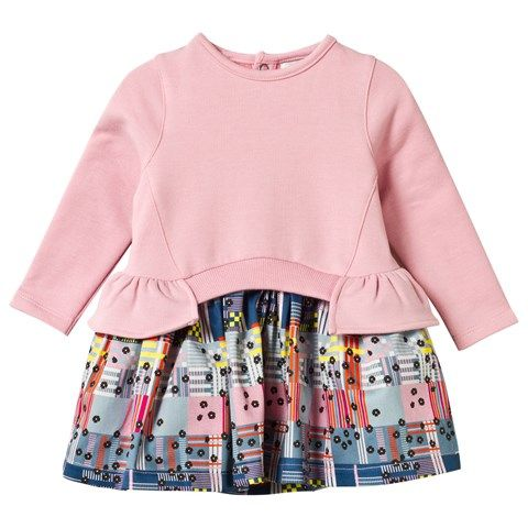 No Added Sugar Pink Peplum Top and Patterned Check Skirt Dress