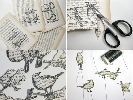 print downloaded images in printer onto torn out pages of books, cut out, easy and so cute