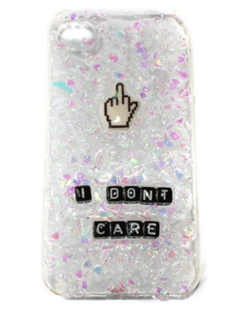 "Carcasa para iPhone de purpurina ""I don't care"" #CarcasasPersonalizadas #FundasPersonalizadas #CarcasasYFundasRCF #RCF #RegalosConFoto"