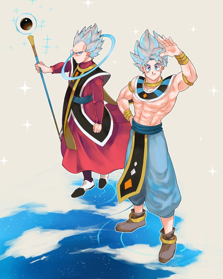 Vegeta and Goku dressed as Whis and Beerus
