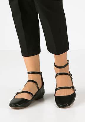 Topshop - FLEUR - Ballerina's met enkelbandje - black