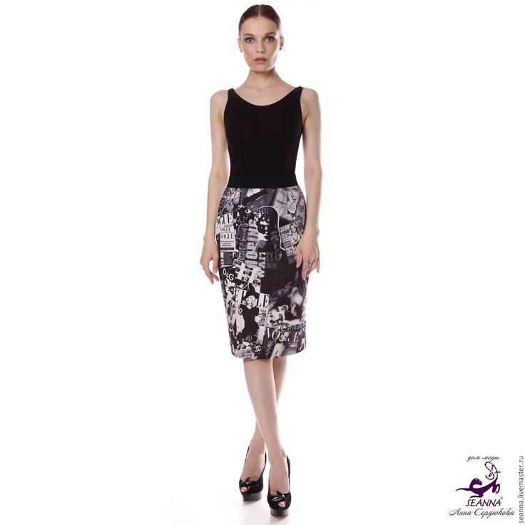 Купить Юбка эластичная с авторским принтом Журналы с брендами - юбка, юбка карандаш