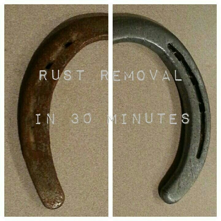 Here are before and after pictures of my horse shoes after I soked them in white vinegar and salt. Rust removal in 30 minutes. What you will need: •White vinegar •Table salt •Container big enough to hold your metal object ( I used a tupperware container) • steel wool dish pads (I used a knock-off brand, it doesn't matter) •Cooking oil Directions: Pour white vinegar into container then mix it with salt and wait till salt has dissolved. When salt disolves put metal object (I used a horse shoe)…