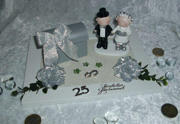 Geldgeschenk Gutschein Silberhochzeit Brautpaar  Geschenke  Silberhochzeit geschenk