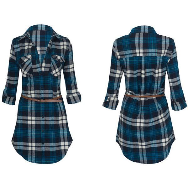 Women's Long Sleeve Button Down Plaid Flannel Belted Tunic Shirt Dress... ($27) ❤ liked on Polyvore featuring tops, green, tops & tees, long sleeve plaid shirt, green top, blue flannel shirt, button-down shirt and blue plaid shirt