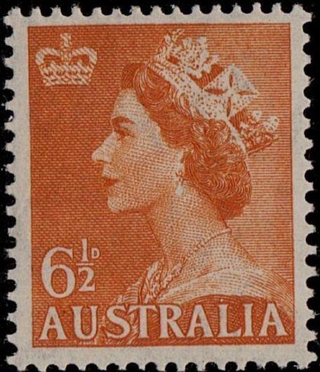 ACSC 298A) 1956. Queen Elizabeth II. 6½d. Perforation 15 x 14. Sideways C of A. Orange