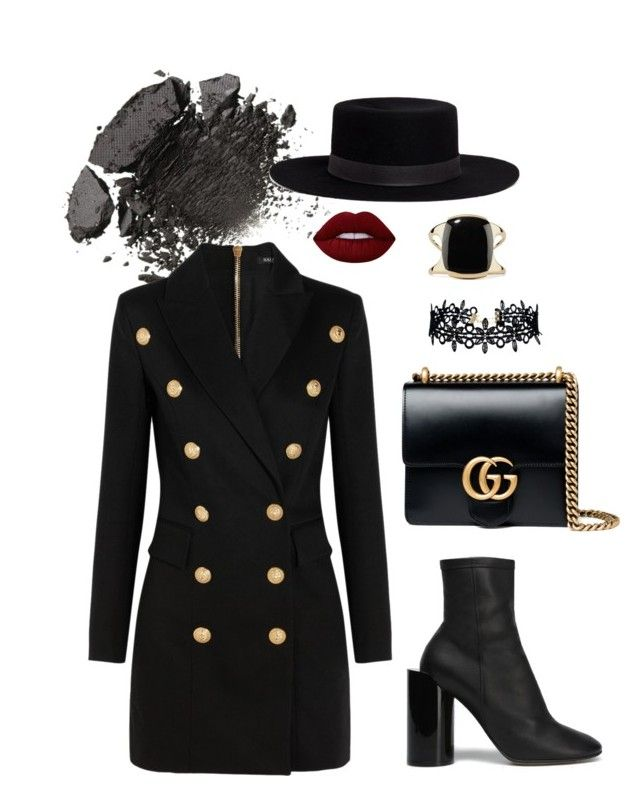 """""""All black"""" by trend-anonymous on Polyvore featuring Balmain, Maison Margiela, Janessa Leone, Gucci, LULUS, Lime Crime and Lisa Eisner"""
