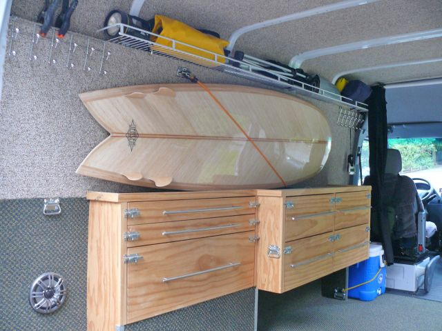 Diy Sprinter Van Cabinets Space For Surfboards Of