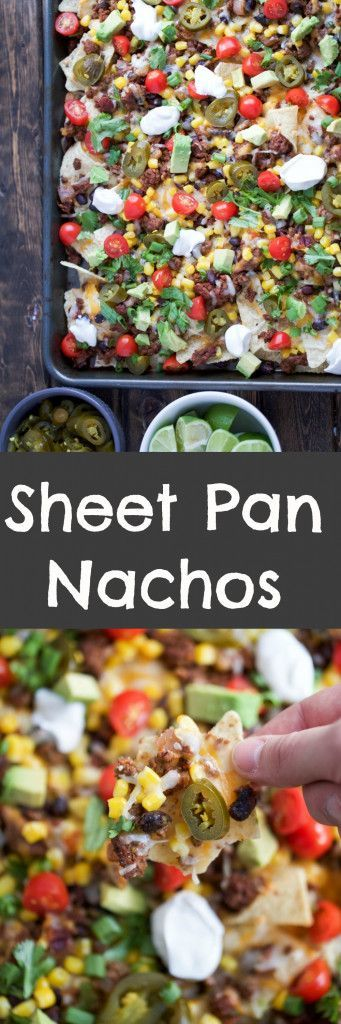 Sheet Pan Nachos are loaded with toppings and are sure to be a great crowd-pleaser - perfect for Cinco de Mayo!