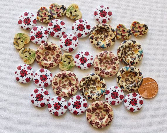 Ladybirds and Butterflies Button Collection by GrannieBunting