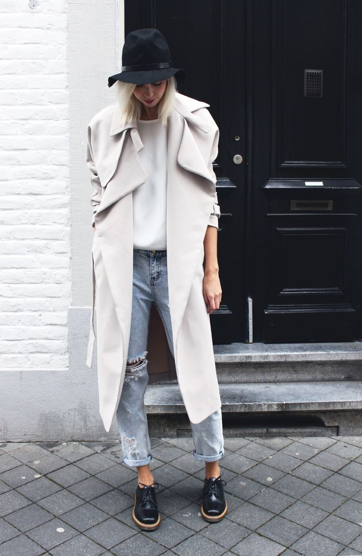 white unstructured trench coat