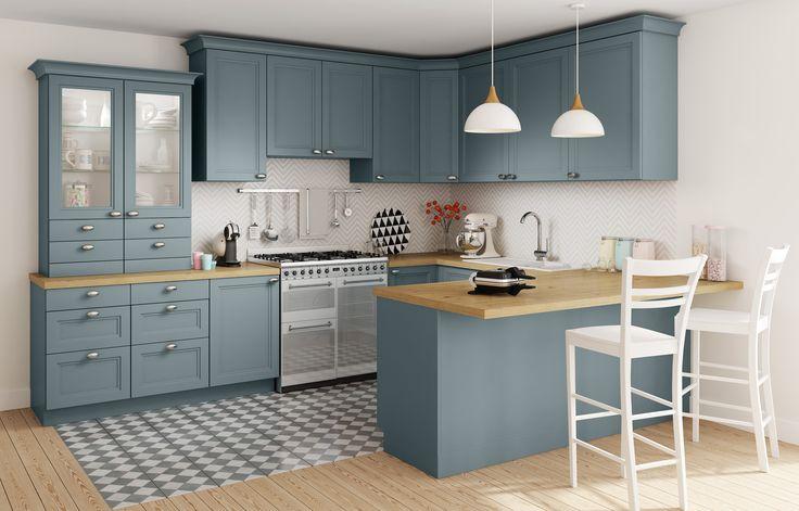 cuisine camelia but bleu bois inspiration decoration maison id es de cuisine. Black Bedroom Furniture Sets. Home Design Ideas
