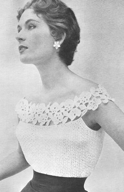 Soirée glamour 1955 Blouse Vintage Crochet Pattern PDF par annalaia, ♪ ♪ ... #inspiration #crochet #knit #diy GB http://www.pinterest.com/gigibrazil/boards/